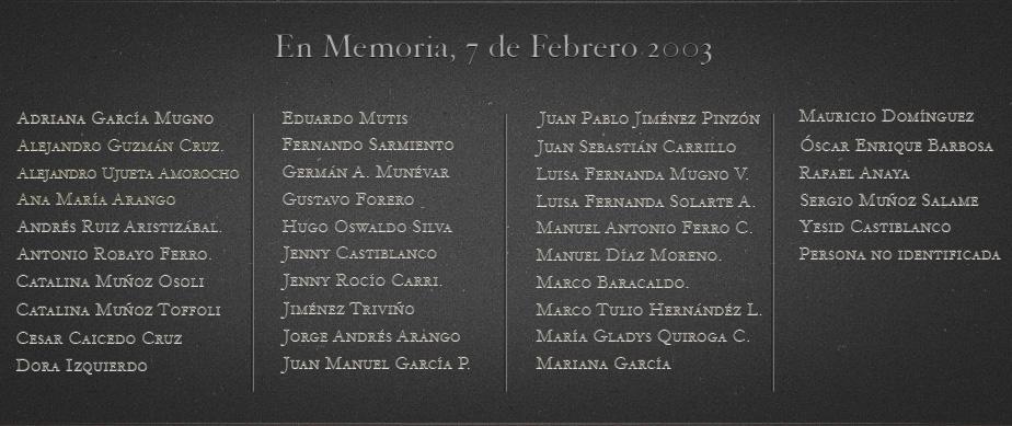 En Memoria, 7 de Febrero, 2003